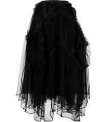 comme des garçons noir kei ninomiya ruffle-trim mid-length skirt -