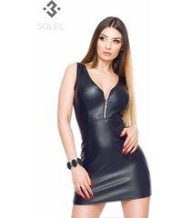 soleil by xxx collection zwart leren getailleerde jurk