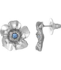 2028 women's silver tone blue crystal flower button earrings