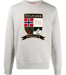 tommy hilfiger embroidered shield of arms sweatshirt - grey
