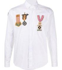 valentino beaded military badge shirt - white