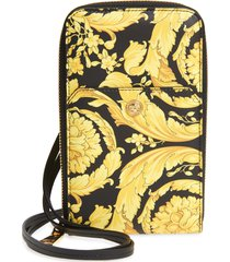 men's versace barocco zip around leather wallet - yellow