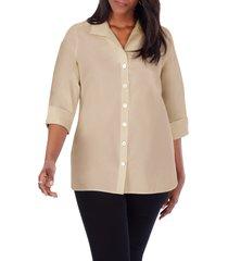 plus size women's foxcroft pandora non-iron tunic shirt, size 24w - beige