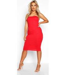 plus jumbo geribbelde strapless midi jurk, rood