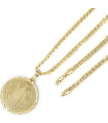 medalha tudo joias são bento com conjunto folheado a ouro 18k