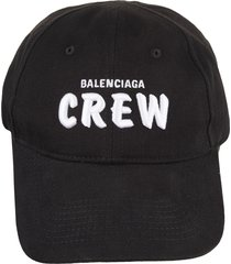 black crew man baseball cap