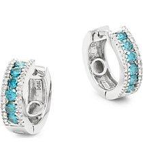 14k white gold, blue & white diamond huggie hoop earrings