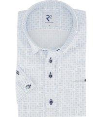 overhemd korte mouwen r2 wit met blauw printje