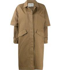 henrik vibskov short sleeve single-breasted coat - brown