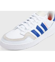 tenis lifestyle blanco-beige-azul adidas originals supercourt,