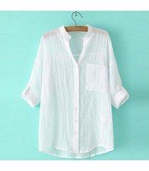 zanzea estilo coreano de las mujeres de lino camisas de verano fina con cuello en v manga larga blusa tapas ocasionales blusas más el tamaño (blanco) -blanco