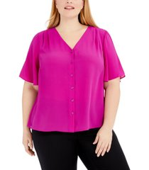 alfani plus size button-front flutter-sleeve top, created for macy's