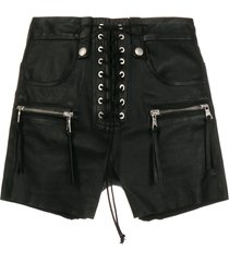 unravel project leather lace-up shorts - black