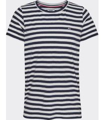 tommy hilfiger women's stripe t-shirt twilight navy / white - l