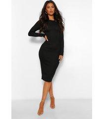 geribbelde midi jurk met open rug en strik, zwart