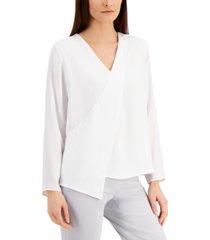 alfani draped-front blouse, created for macy's