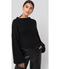 na-kd balloon sleeve knitted sweater - black