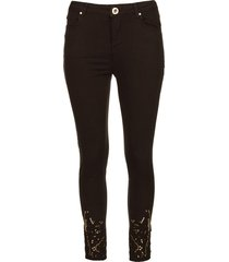 jeans met kant suzan  zwart