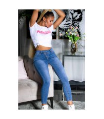 sexy hoge taille jeans met asymetric knopen blauw