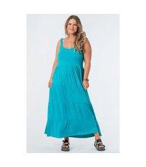 vestido almaria plus size munny longo liso camadas azul