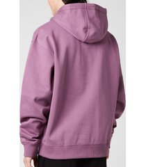 kenzo men's multicolour logo oversize hoodie - blackcurrant - xl
