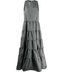 rochas tiered taffeta gown - grey