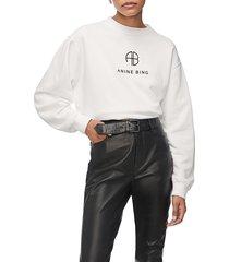 women's anine bing ramona monogram cotton sweatshirt, size large - white
