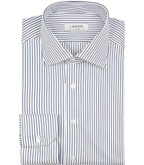 camicia da uomo su misura, grandi & rubinelli, blu riga stretta natural stretch, quattro stagioni | lanieri