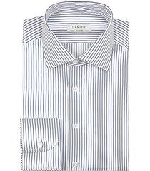 camicia da uomo su misura, grandi & rubinelli, blu riga stretta natural stretch, quattro stagioni