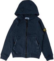 stone island sweatshirt with zip and blue navy hood