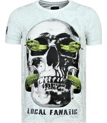 t-shirt korte mouw local fanatic skull snake - strakke t-shirt - 6326w -
