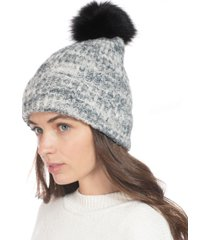 style & co rib marled beanie hat with faux-fur pom, created for macy's