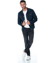 chaqueta de jean para hombre azul indigo boton en cobre
