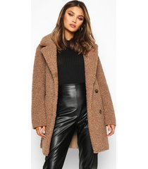 double breasted bonded faux fur teddy coat, stone