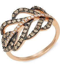 14k rose gold, white & brown diamond cutout ring