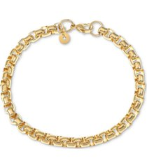 inc men's rounded box link chain bracelet, created for macy's