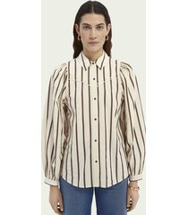 scotch & soda western-style cotton shirt with balloon sleeves
