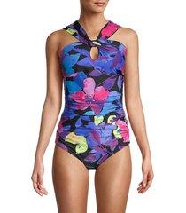 calvin klein women's santorini one-piece swimsuit - blue multicolor - size 14