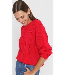 sweater rojo nano calado manga ancha