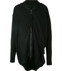 julius zip-up relaxed fit hoodie - black