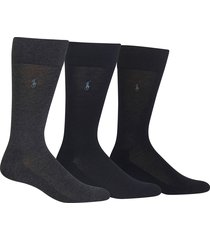 men's polo ralph lauren assorted 3-pack supersoft socks, size one size - black