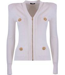 balmain button-detail zip up cardigan