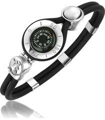 forzieri designer men's bracelets, decorative compass stainless steel and rubber bracelet