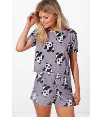 petite panda logo pyjama set, multi