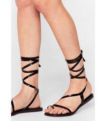 womens tie a little harder patent faux leather sandals - black