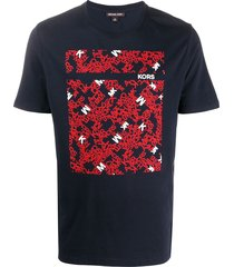 michael kors repeated logo print t-shirt - blue