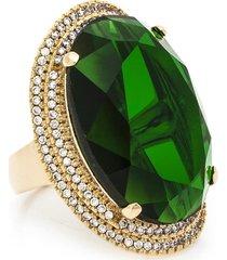 anel kumbayá oval semijoia banho de ouro 18k cristal verde e  cravaçáo de zircônias - tricae