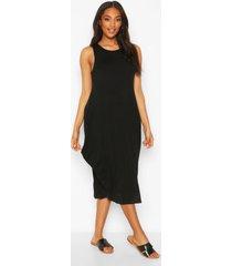 maternity drape midi dress, black
