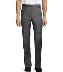 tonal plaid wool trousers