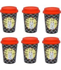 conjunto de 6 copos trip 300ml com tampa trend lhama - multicolorido - dafiti
